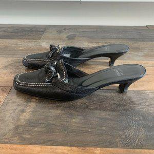 Stuart Weitzman Slip on Leather Mules, Black